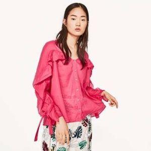 Zara Semi Sheer Ruffle Detail Long Sleeve Blouse